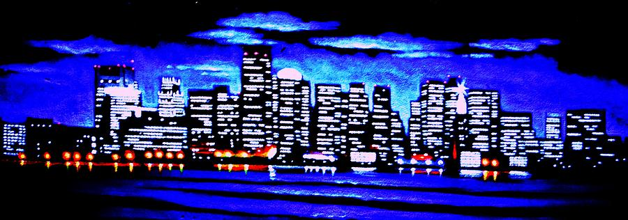 Boston By Black Light Painting  - Boston By Black Light Fine Art Print