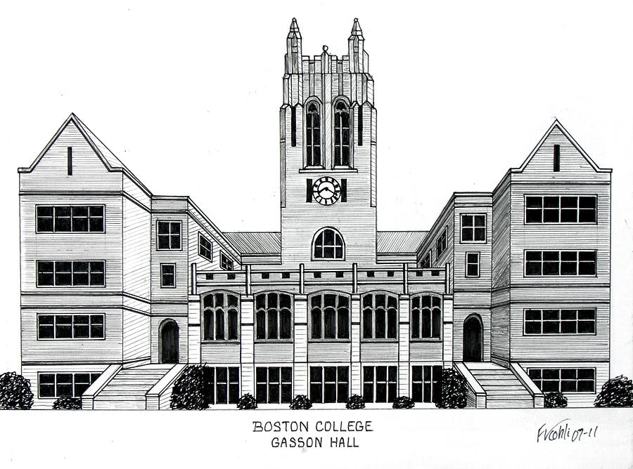 Boston College Drawing  - Boston College Fine Art Print
