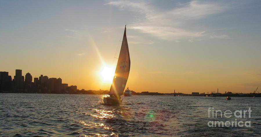 Boston Harbor Sunset Photograph