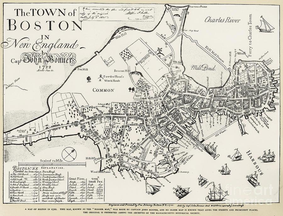 Boston Map, 1722 Photograph