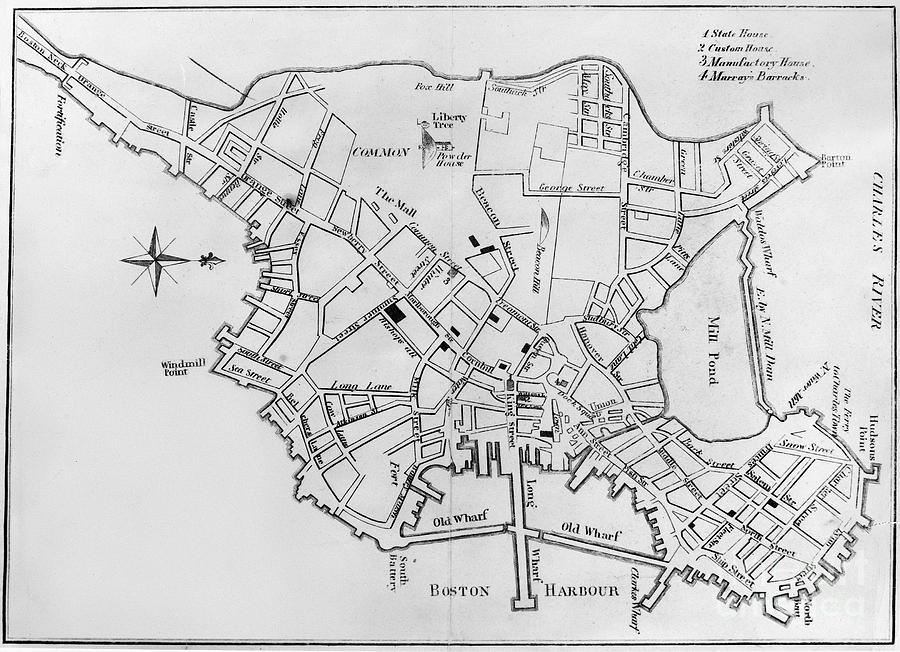 Boston Map 1770 Photograph By Granger