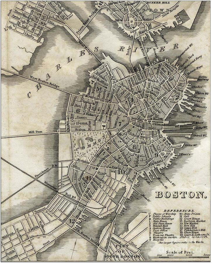 Boston Map Of 1842 Photograph