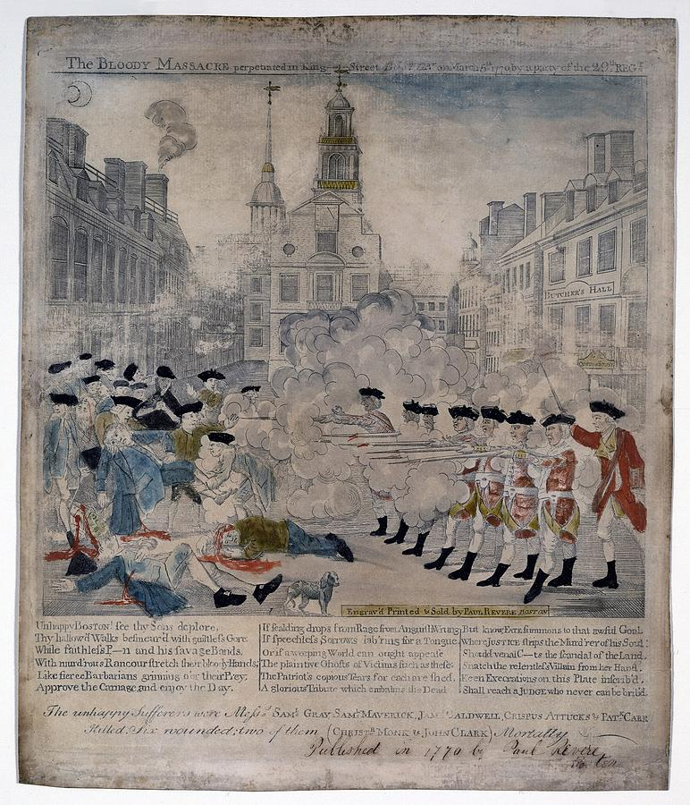 Boston Massacre.  British Troops Shoot Photograph