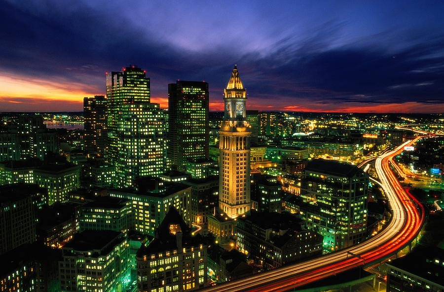 Boston Night Aerial With Time Exposure Photograph  - Boston Night Aerial With Time Exposure Fine Art Print