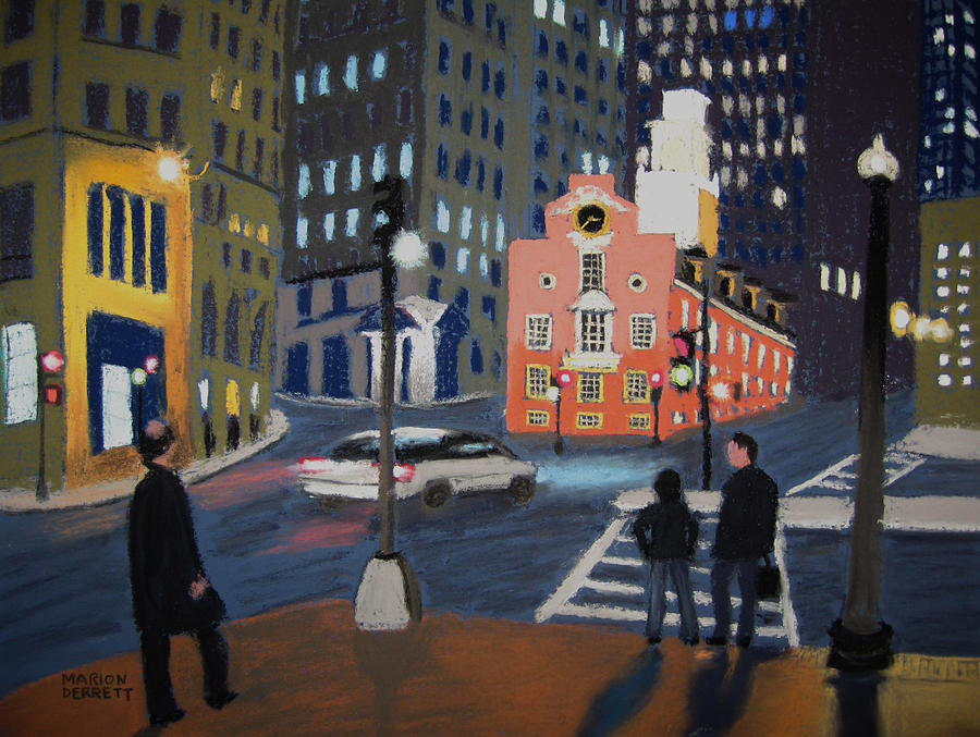 Boston Night Pastel  - Boston Night Fine Art Print