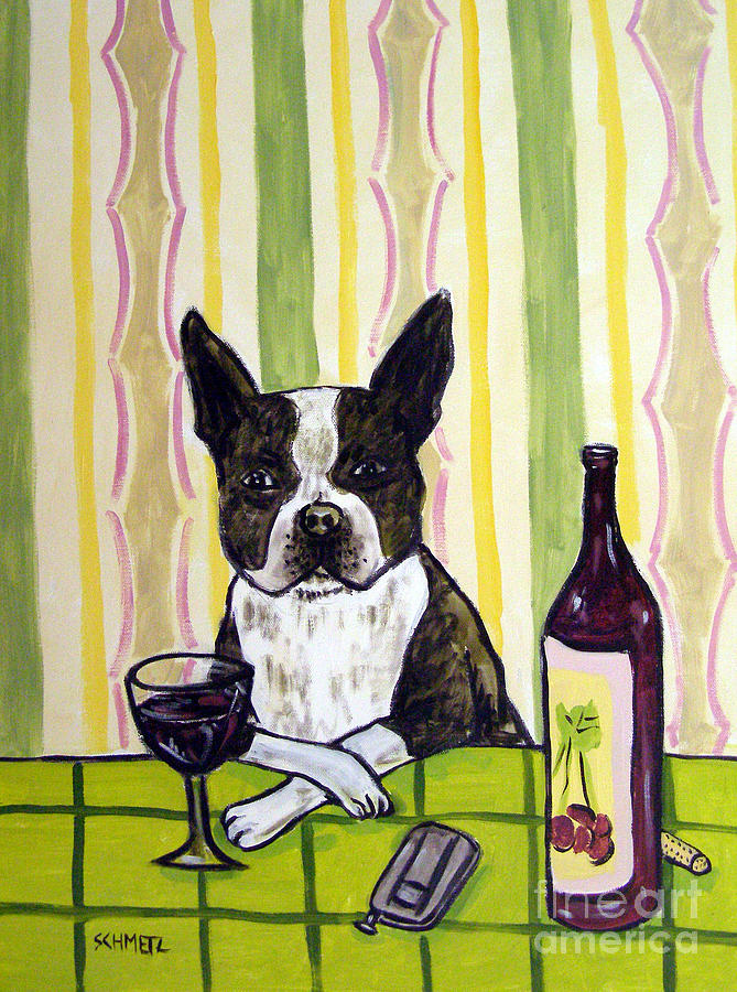 Boston terrier at the wine bar painting by jay schmetz for Wine and paint boston