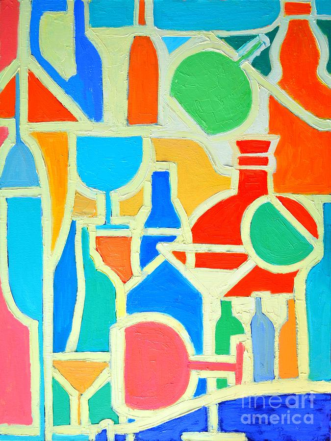 Bottles And Glasses 2 Painting  - Bottles And Glasses 2 Fine Art Print