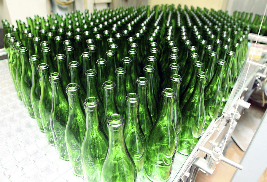 Cornet Photograph - Bottles At A Wine Bottling Factory by Ria Novosti