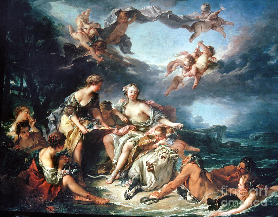 Boucher: Abduction/europa Painting  - Boucher: Abduction/europa Fine Art Print