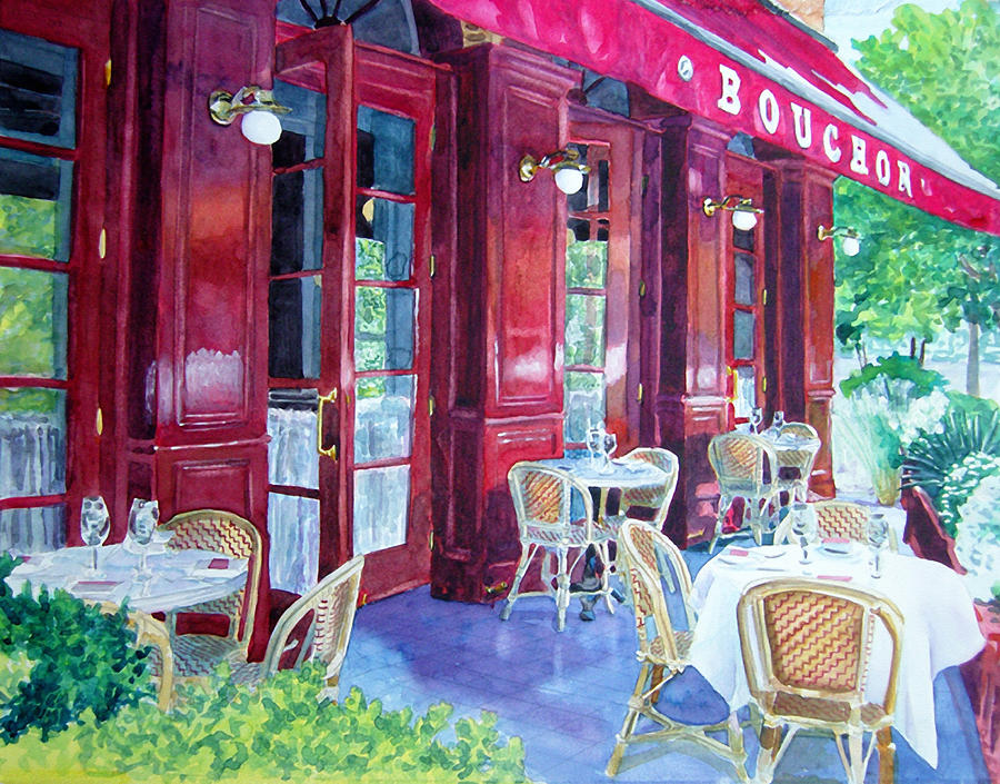 Bouchon Restaurant Outside Dining Painting  - Bouchon Restaurant Outside Dining Fine Art Print