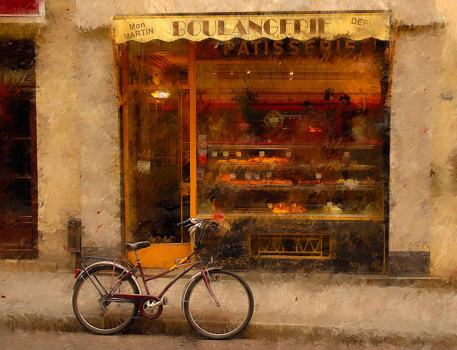 Boulangerie And Bike Digital Art  - Boulangerie And Bike Fine Art Print