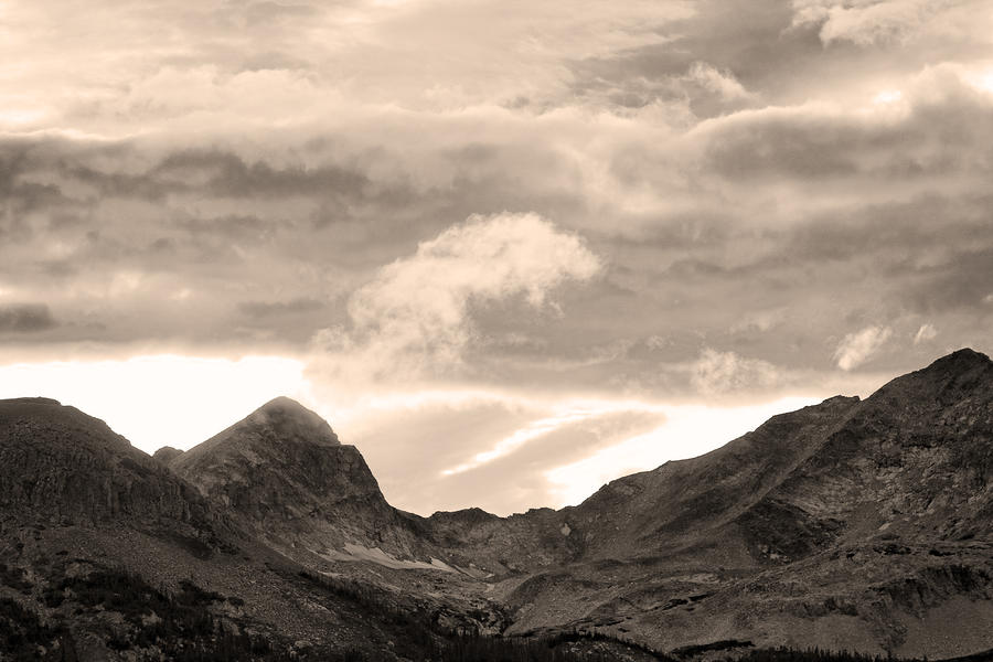 Boulder County Indian Peaks Sepia Image Photograph  - Boulder County Indian Peaks Sepia Image Fine Art Print