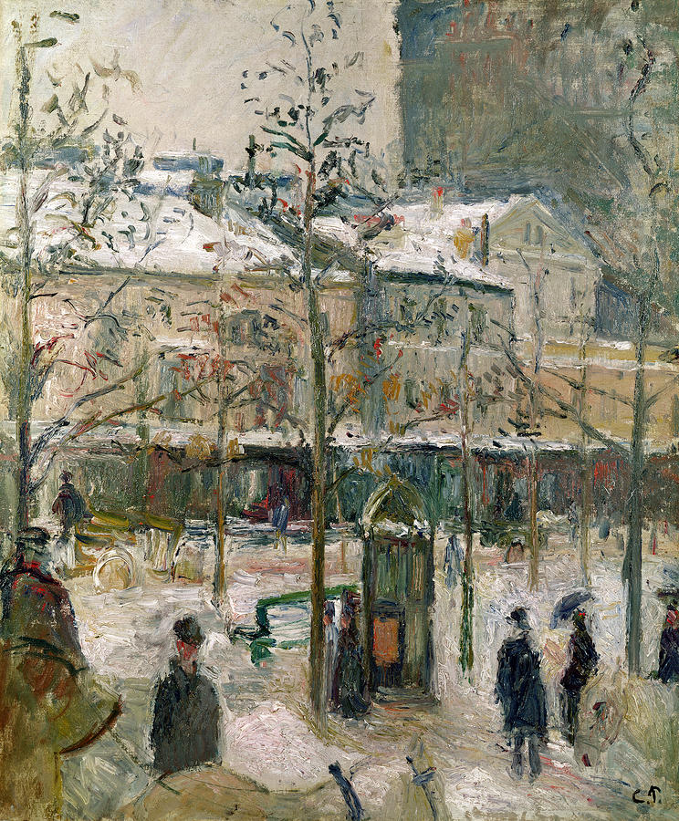 Boulevard De Rocheouart In Snow Painting  - Boulevard De Rocheouart In Snow Fine Art Print