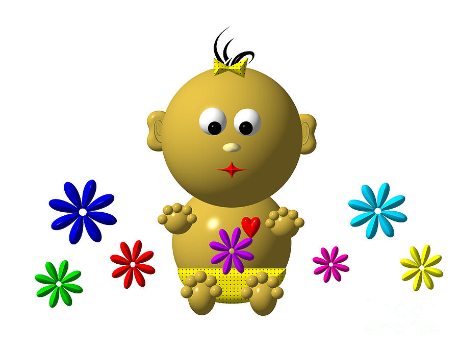 Bouncing Baby Girl With 7 Flowers Digital Art