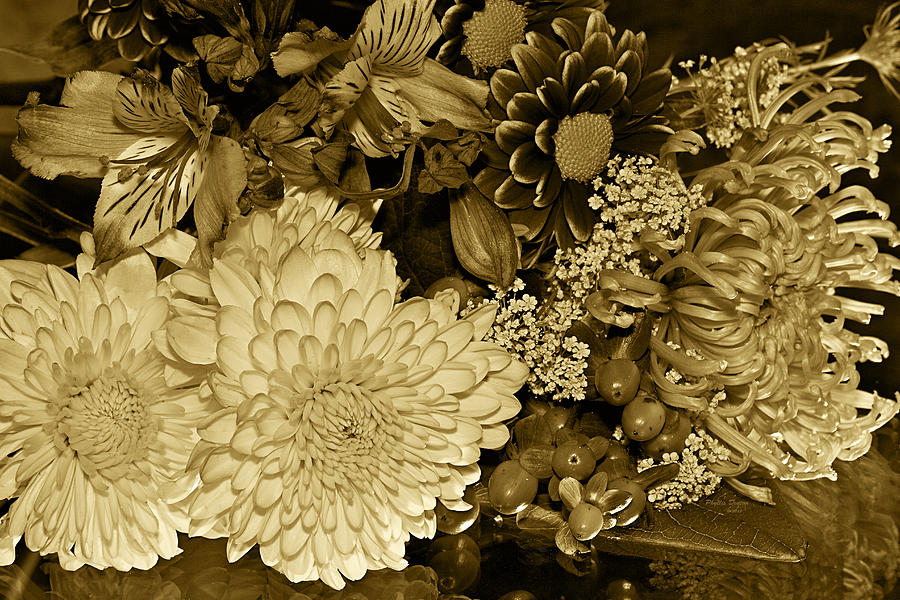 Bouquet In Sepia Photograph