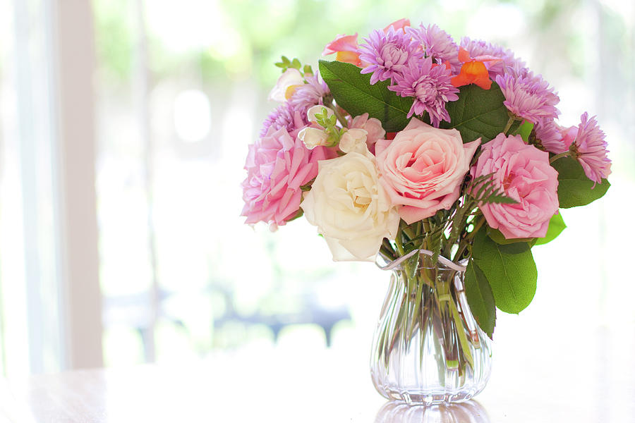 Horizontal Photograph - Bouquet Of Flowers On Table Near Window by Jessica Holden Photography