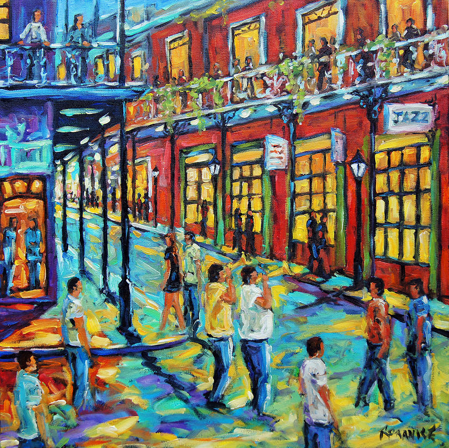 Bourbon Street New Orleans By Prankearts Painting
