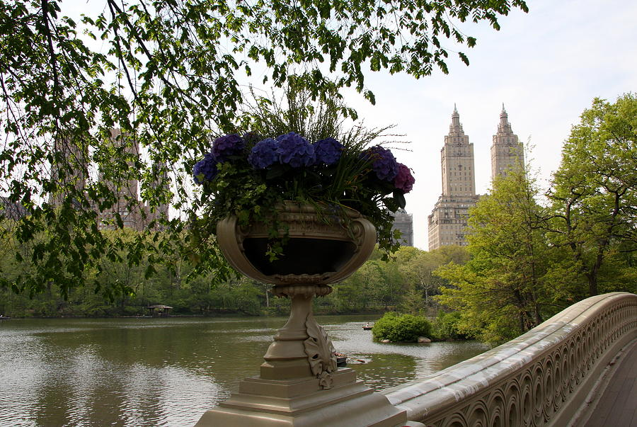 Bow Bridge Flowerpot And San Remo Nyc Photograph  - Bow Bridge Flowerpot And San Remo Nyc Fine Art Print