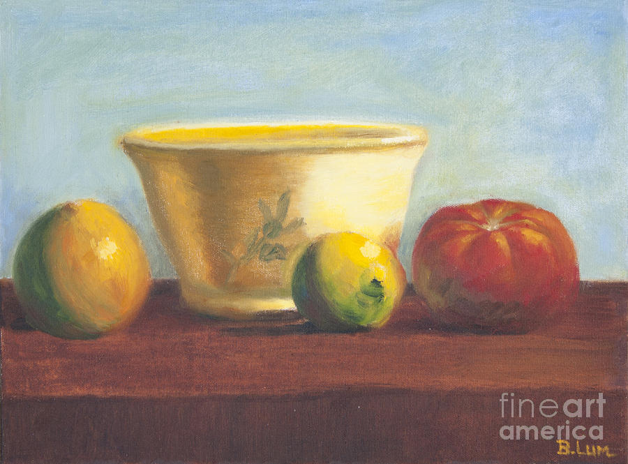 Bowl And Fruit Painting  - Bowl And Fruit Fine Art Print