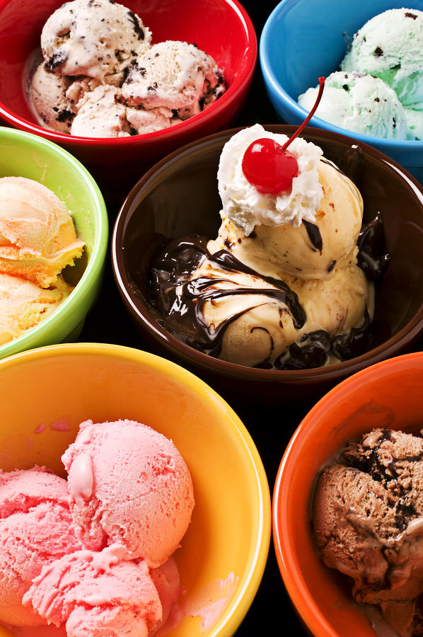 Bowls Of Different Flavor Ice Creams Photograph