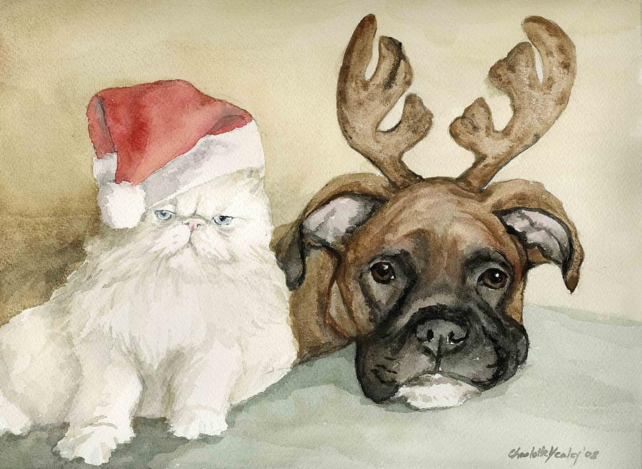 Boxer And Persian Cat Christmas Painting