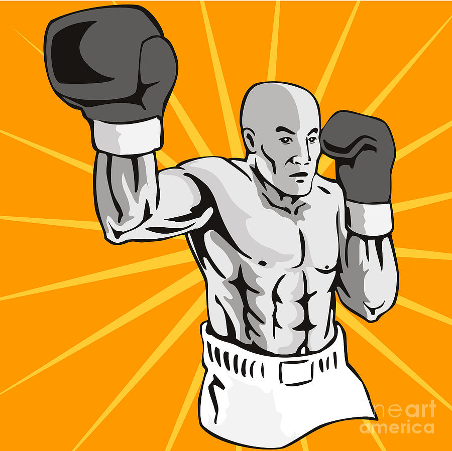 Boxer Boxing Knockout Punch Retro Digital Art