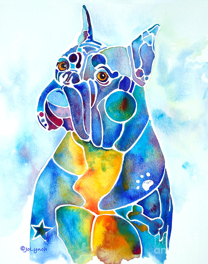 Boxer Dog Breed Blues Painting  - Boxer Dog Breed Blues Fine Art Print