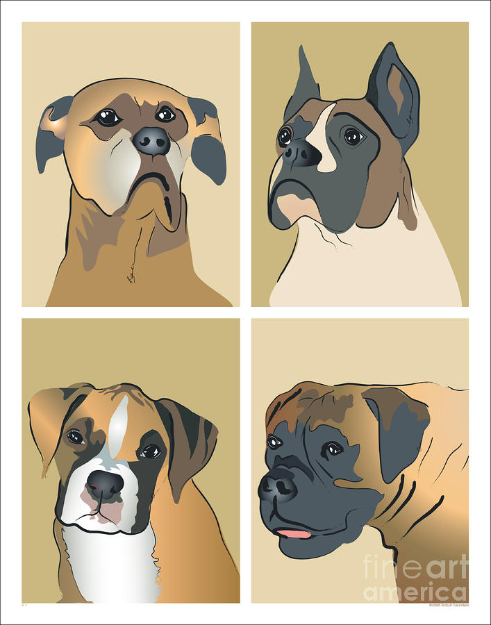 Boxer Dogs 4 Up Painting