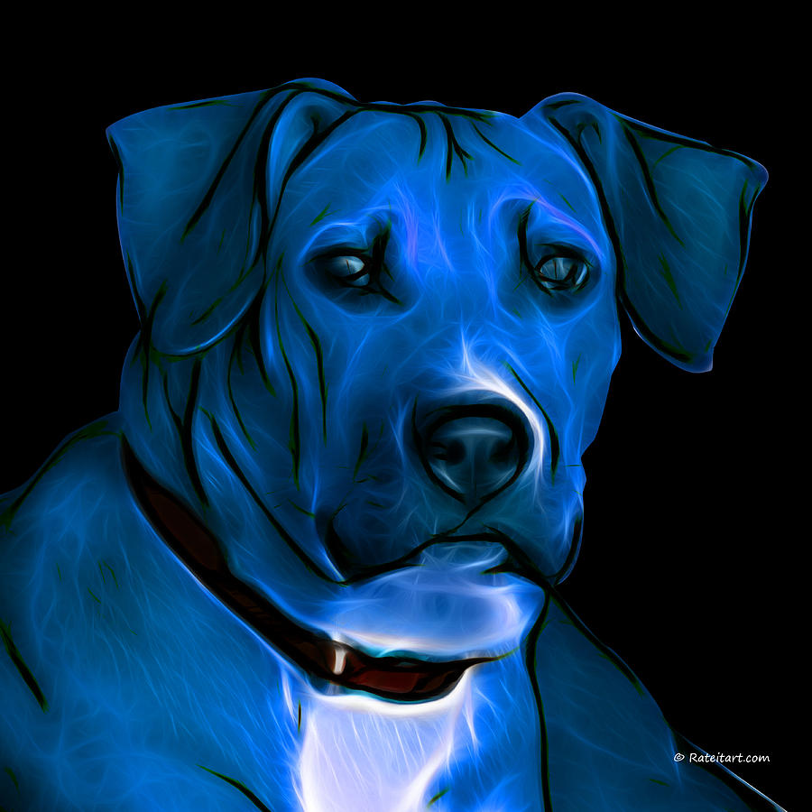 Boxer Pitbull Mix Pop Art-blue Digital Art  - Boxer Pitbull Mix Pop Art-blue Fine Art Print