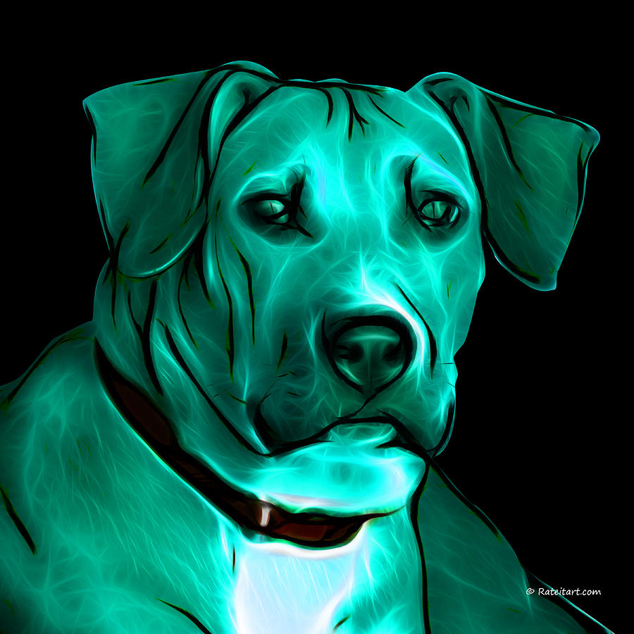 Boxer Pitbull Mix Pop Art - Cyan Digital Art  - Boxer Pitbull Mix Pop Art - Cyan Fine Art Print