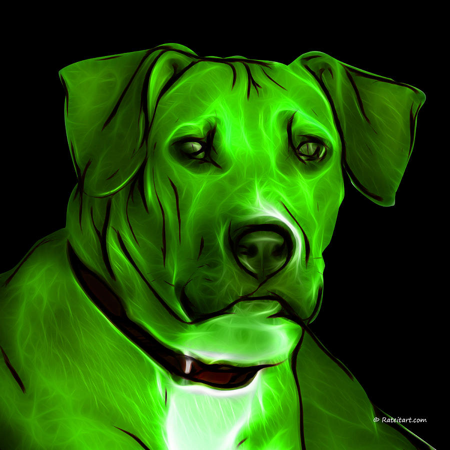 Boxer Pitbull Mix Pop Art - Green Digital Art