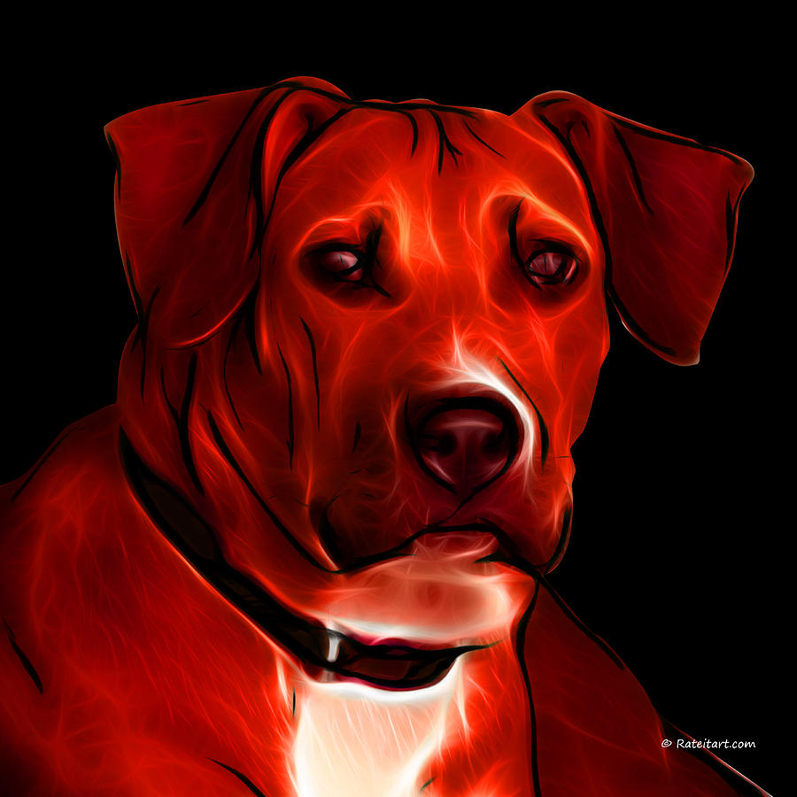 Boxer Pitbull Mix Pop Art - Red Digital Art