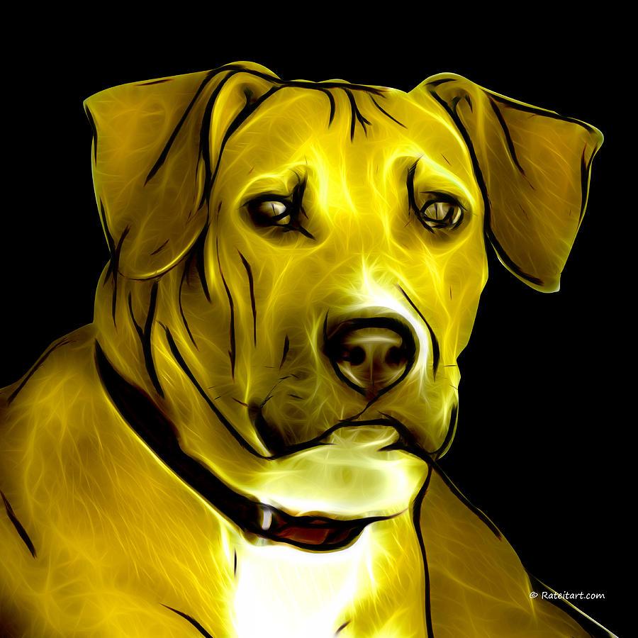 Boxer Pitbull Mix Pop Art - Yellow Digital Art