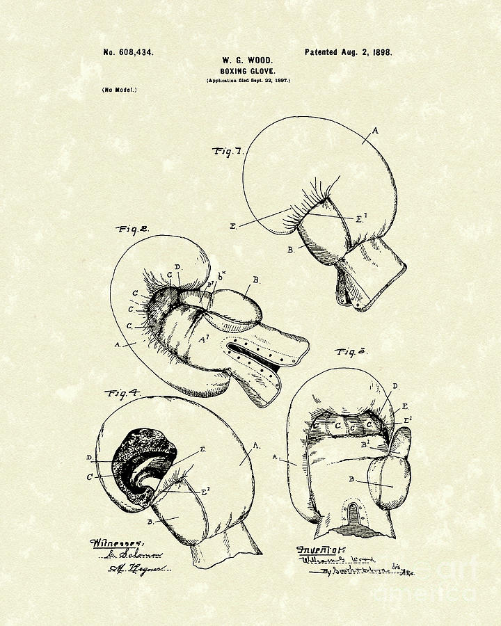 Wood Drawing - Boxing Glove 1898 Patent Art by Prior Art Design