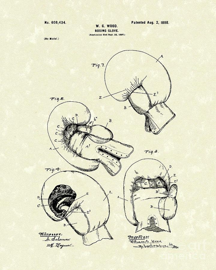 Boxing Glove 1898 Patent Art Drawing