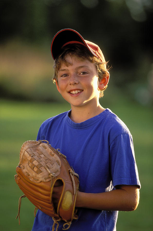 Boy With Baseball Glove Photograph  - Boy With Baseball Glove Fine Art Print