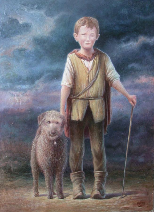 Boy With Dog Painting