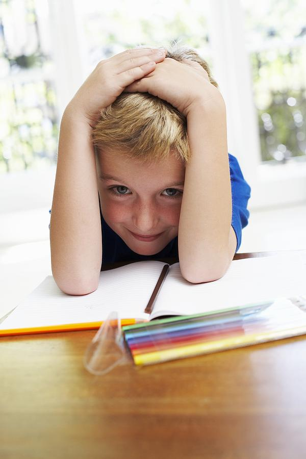 Boy With Pens And Exercise Book Photograph