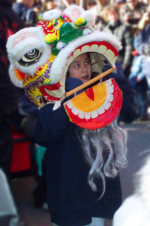 Boy With The Dragon Mask Photograph