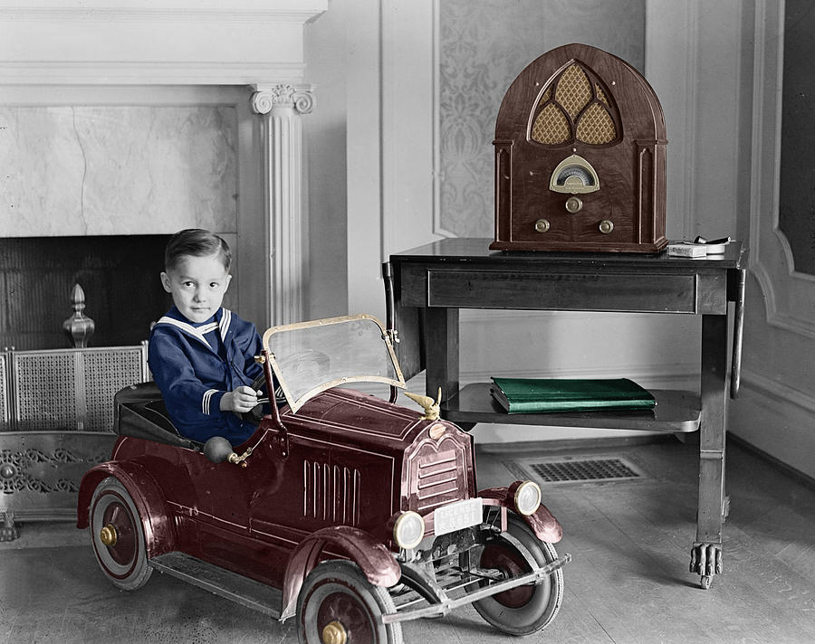 Vintage Toys Photograph - Boy With Toy Car by Andrew Fare