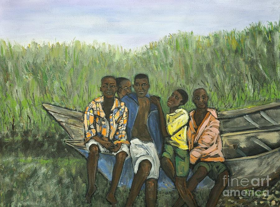 Boys Sitting On The Boat Uganda Painting  - Boys Sitting On The Boat Uganda Fine Art Print