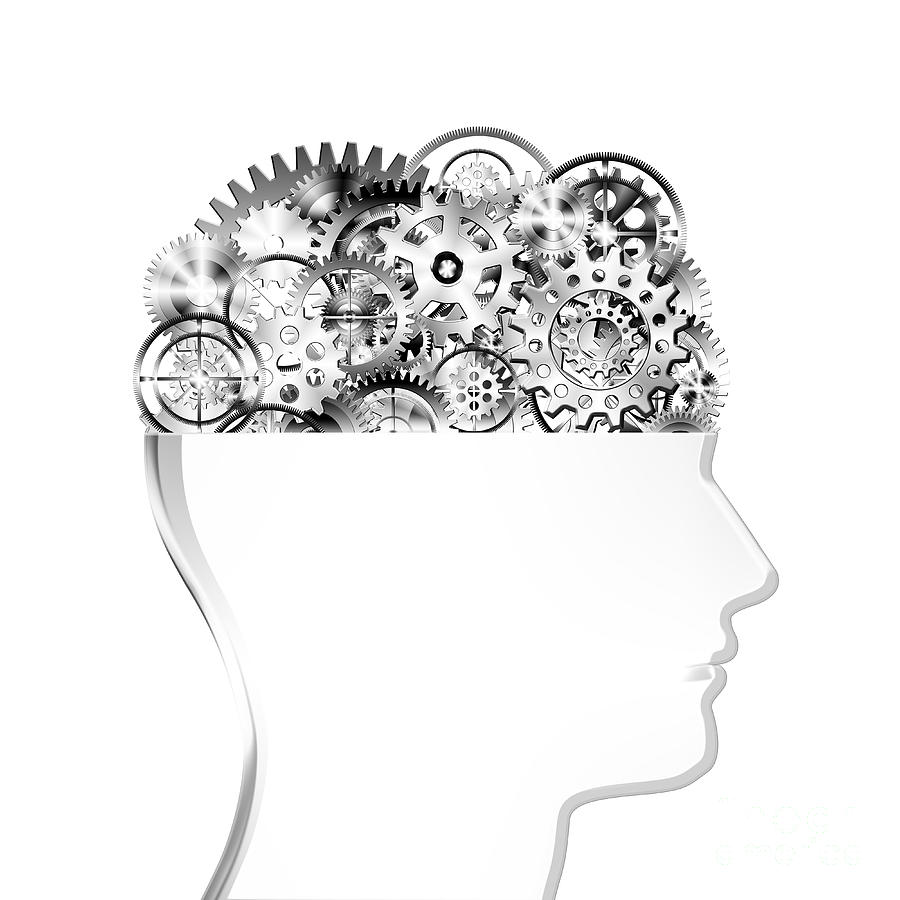 Art Photograph - Brain Design By Cogs And Gears by Setsiri Silapasuwanchai