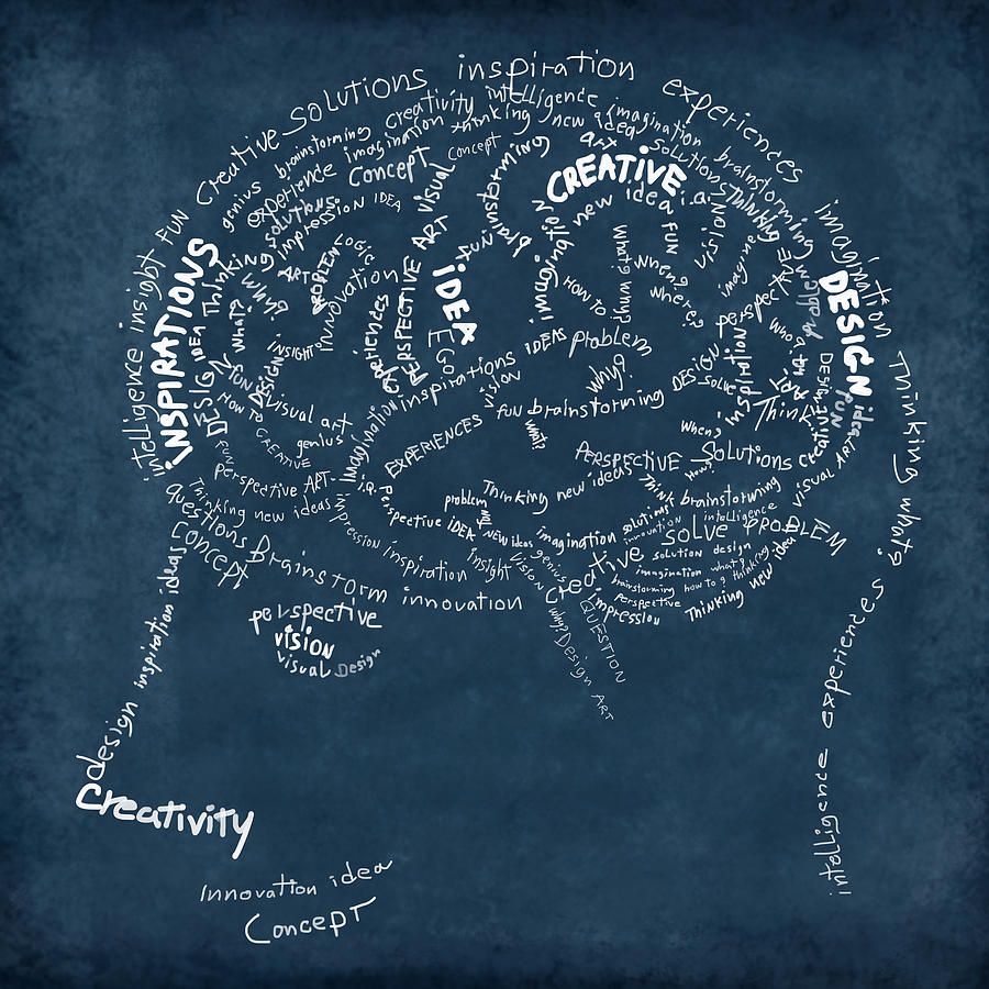 Brain Drawing On Chalkboard Photograph