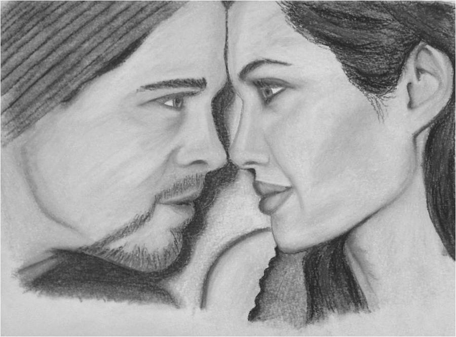 Brad Drawing - Brangelina by Silvia Louro