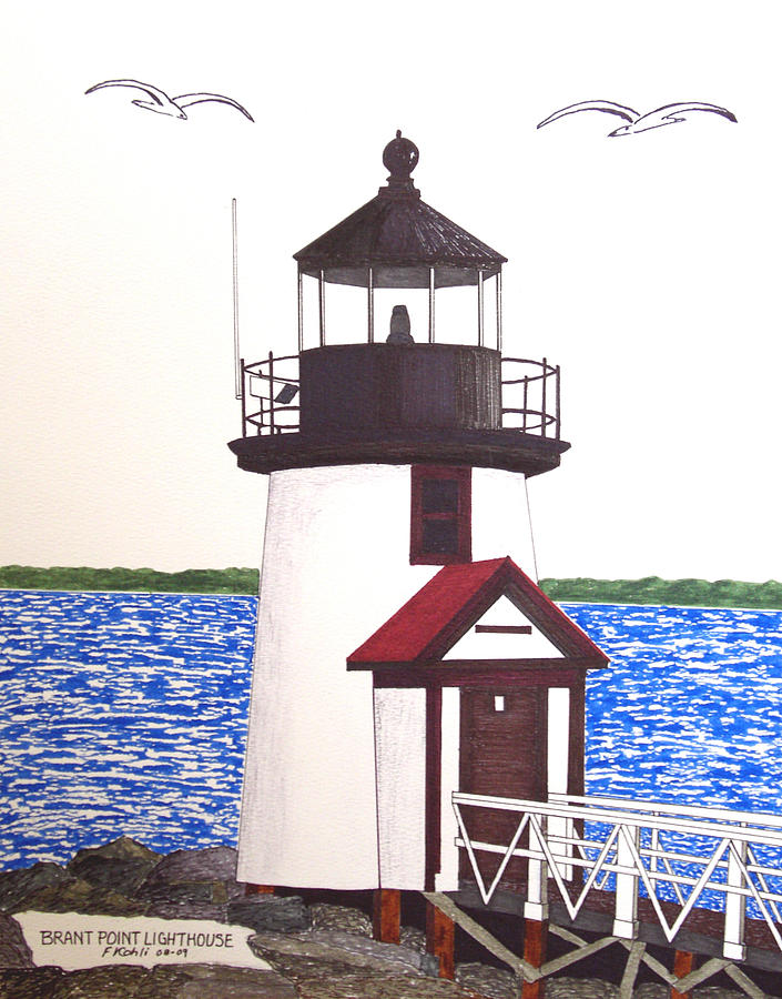 Brant Point Lighthouse At Nantucket Harbor Drawing  - Brant Point Lighthouse At Nantucket Harbor Fine Art Print