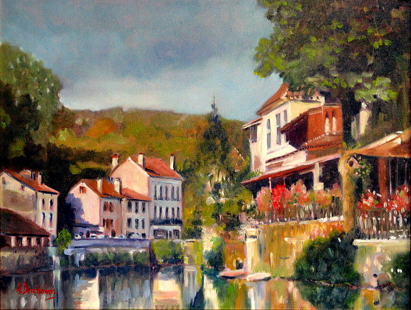 brantome sur la dronne painting by alain deschamps. Black Bedroom Furniture Sets. Home Design Ideas