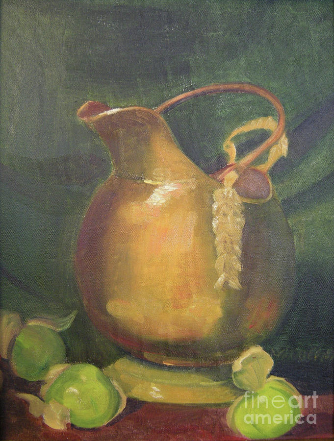 Still Life Painting - Brass And Tomatillos by Lilibeth Andre