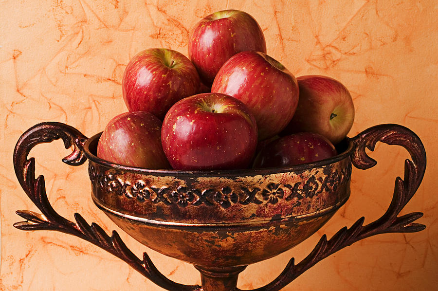 Brass Bowl With Fuji Apples Photograph