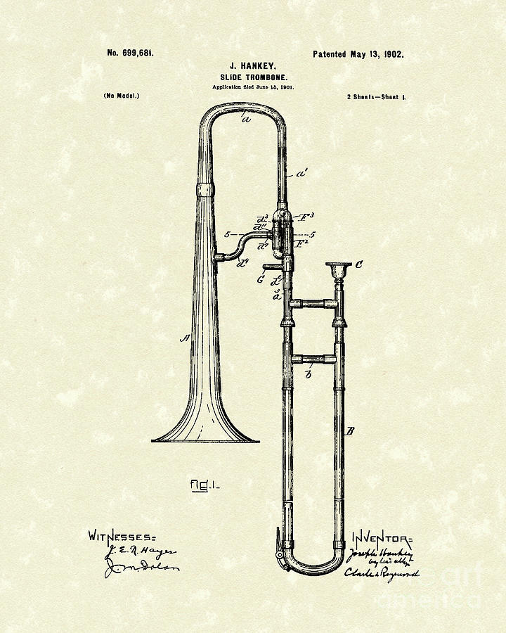 Brass Trombone Musical Instrument 1902 Patent Drawing