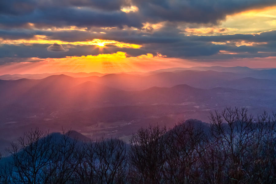 Appalachia Photograph - Brasstown Sunset by Debra and Dave Vanderlaan